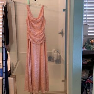 Davids bridal sparkling lace gown in light pink
